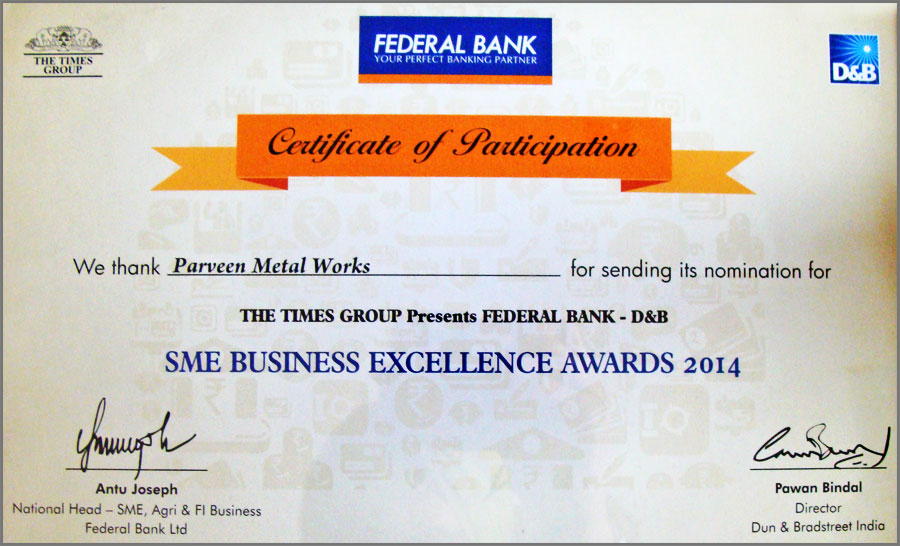 sme business excellence awards 2014 - parveen metal works india ludhiana punjab